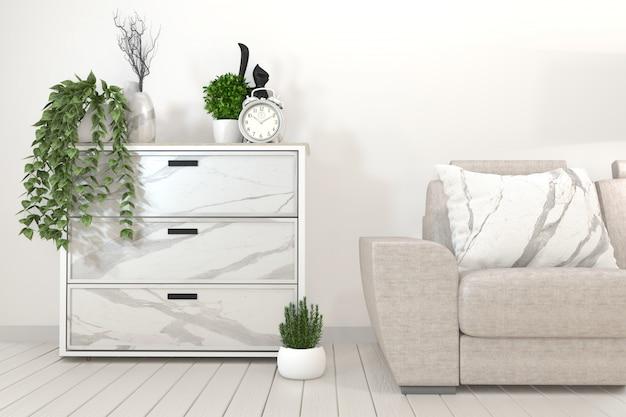 Piante bianche del gabinetto, della struttura, della sedia e della decorazione rappresentazione di zen style.3d
