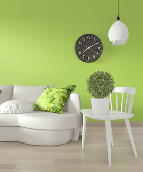 Piante bianche del sofà e della decorazione sulla parete verde chiaro e sul pavimento di legno rappresentazione 3d