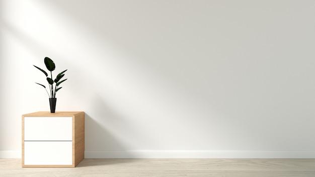 Piante sul gabinetto nella moderna sala vuota stile giapponese