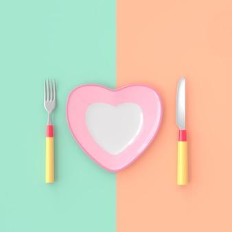 Piastra a forma di cuore con coltello e forchetta color pastello. concetto di idea di amore, rendering 3d.