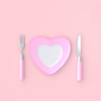 Piastra a forma di cuore con coltello e forchetta colore rosa. concetto di idea di amore, rendering 3d