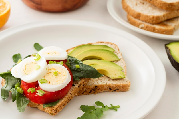 Piastra con sandwich sano