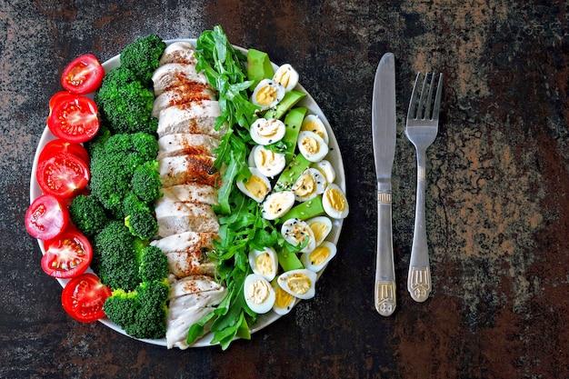 Piastra con un alimento dieta cheto. un insieme di prodotti per la dieta chetogenica su un piatto. pomodorini, broccoli bolliti, petto di pollo al vapore, insalata con rucola, avocado e uova di quaglia. pranzo di keto.
