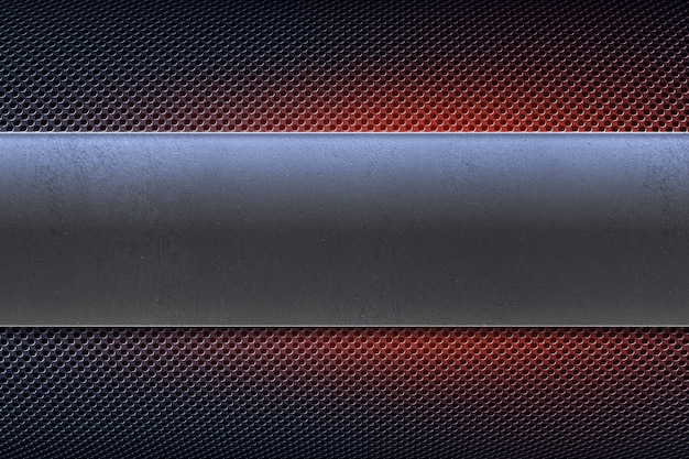 Piastra metallica forata color blu con striscione in metallo lucido