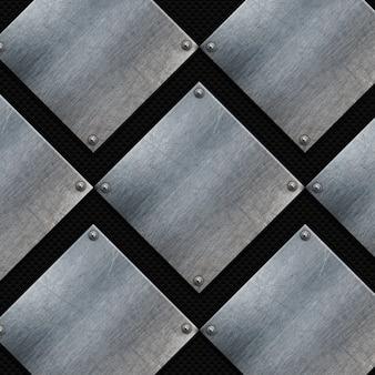 Piastre di metallo grunge su una trama in fibra di carbonio