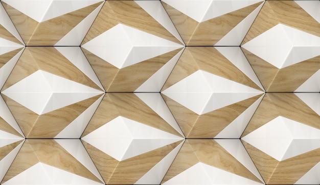 Piastrelle in legno 3d con elementi in pietra bianca con materiale legno rovere