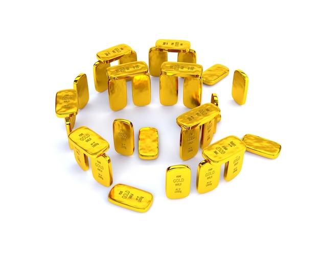 Piastrelle in oro lucido di altissima qualità sotto forma di stonehenge. concetto di successo illustrazione 3d, render.