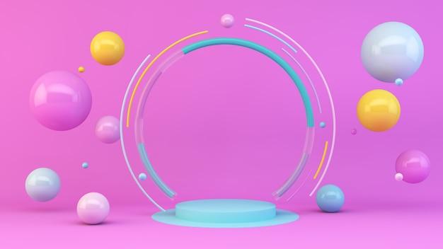 Piattaforma blu su rosa