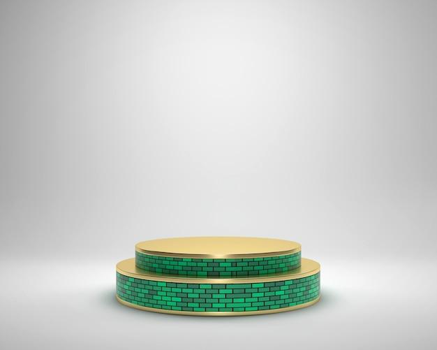 Piattaforma della fase dei mattoni dorati e verdi di lusso di eleganza astratta, modello per la pubblicità del prodotto, rappresentazione 3d.