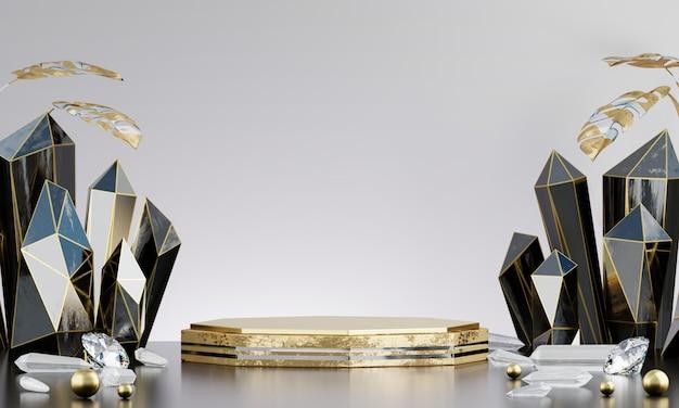 Piattaforma di lusso astratta della fase dell'oro con cristallo nero, per l'esposizione del prodotto di pubblicità, rappresentazione 3d.