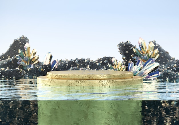 Piattaforma di lusso astratta della fase dell'oro con il cristallo caustico della natura in acqua, modello per la pubblicità del prodotto, rappresentazione 3d.