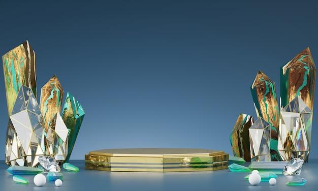 Piattaforma di lusso astratta in oro con smeraldo e cristallo ambrato, per la pubblicità del prodotto display, rendering 3d.