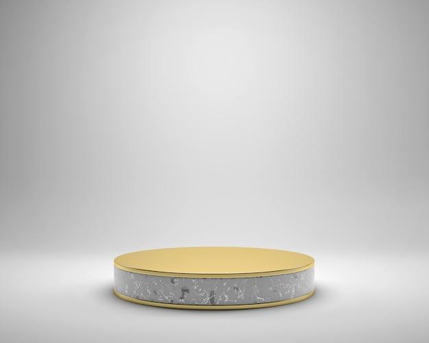 Piattaforma dorata di lusso della fase di eleganza astratta, modello per la pubblicità del prodotto, rappresentazione 3d.