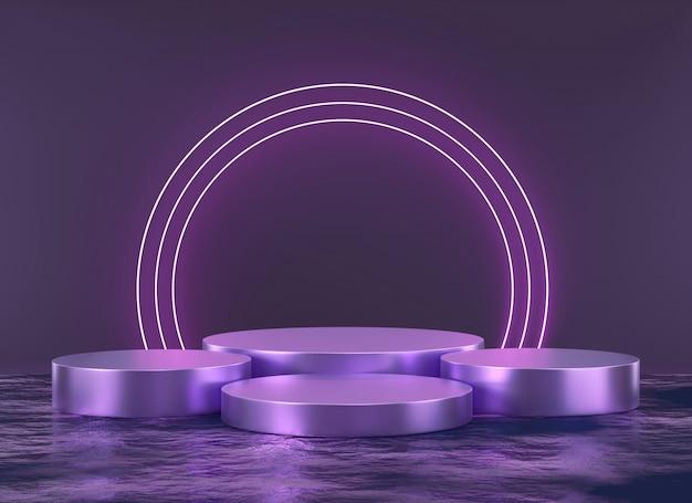 Piattaforma e luce viola solide astratte della fase, modello per la pubblicità dell'esposizione del prodotto, rappresentazione 3d.