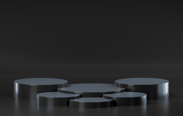 Piattaforma nera astratta della fase, per la pubblicità dell'esposizione del prodotto, rappresentazione 3d.