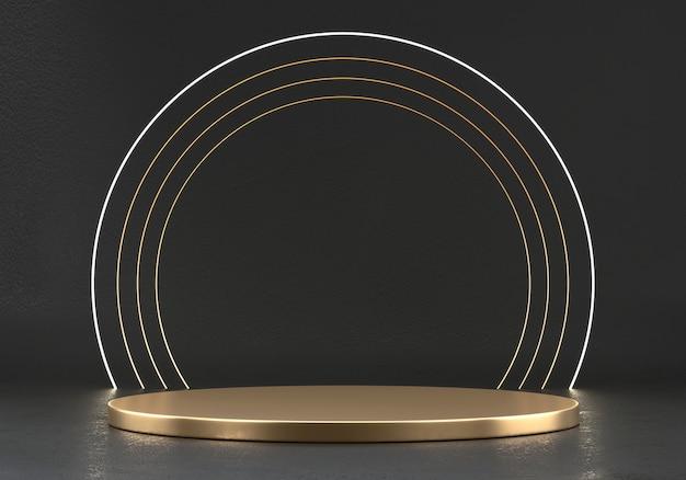 Piattaforma palcoscenico astratta eleganza lusso dorato, modello per prodotto pubblicitario, rendering 3d.