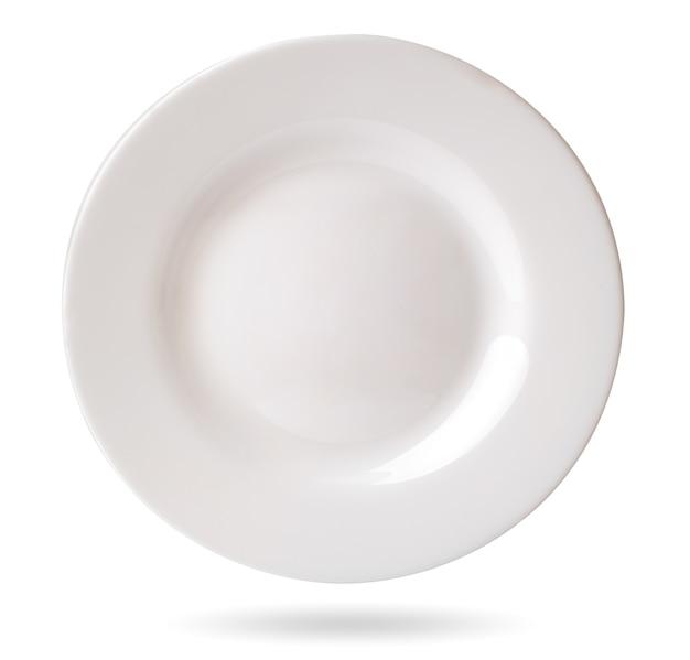 Piatto bianco vuoto su bianco, isolato.