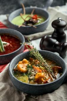 Piatto con zuppa di asparagi con polpo, piatto di borscht tradizionale con panna acida, piatto con zuppa di funghi
