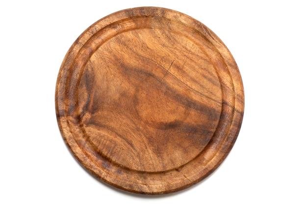 Piatto di legno, vassoio, tavolo per cucinare o piatti caldi isolati su sfondo bianco vista dall'alto