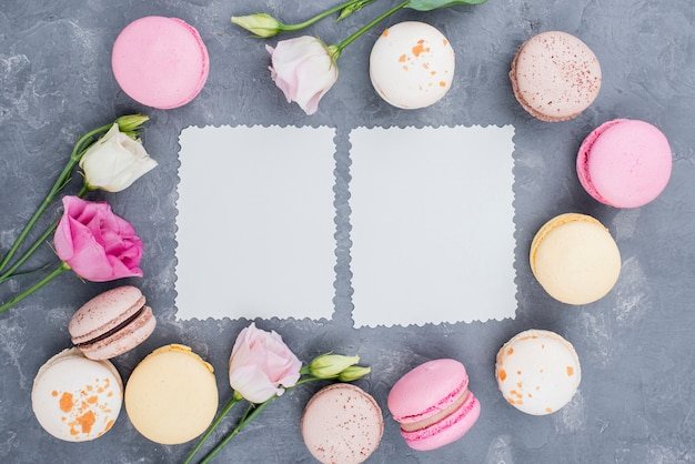 Piatto disteso di deliziosi macarons con rose e carta