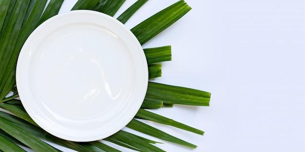 Piatto in ceramica bianco vuoto su foglie di palma tropicale su sfondo bianco. vista dall'alto