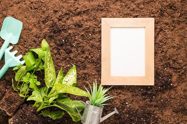 Piatto lay di telaio e attrezzi da giardinaggio con copyspace