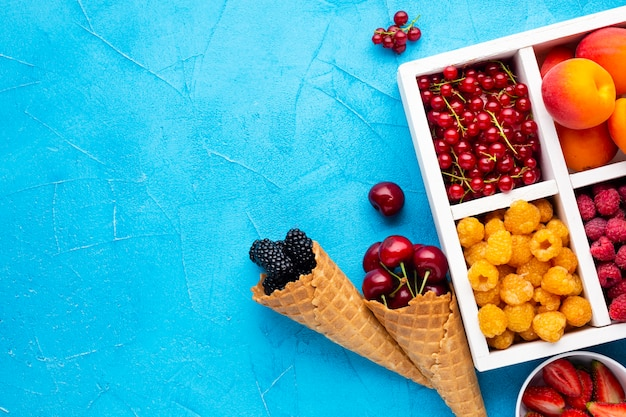 Piatto piano di bacche fresche e frutta con copyspace