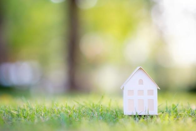 Piccola casa bianca sull'erba