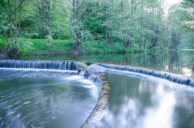 Piccola cascata su un piccolo e pittoresco ruscello nella foresta