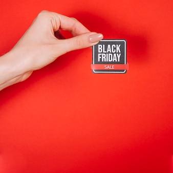 Piccola insegna copia-spazio con design venerdì nero