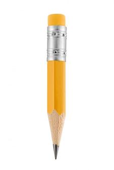 Piccola matita gialla con gomma isolata