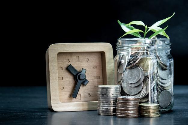 Piccola pianta dall'alto della moneta in barattolo trasparente con piccolo orologio in legno