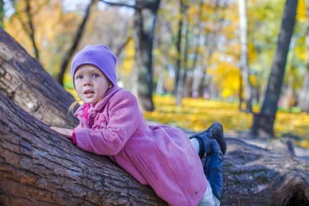Piccola ragazza felice nel parco di autunno
