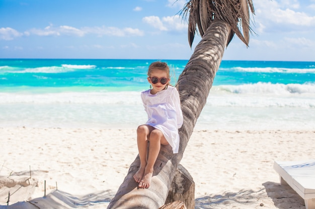 Piccola ragazza sveglia che si siede sulla palma alla spiaggia caraibica perfetta