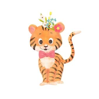Piccola tigre cartone animato carino con una corona e l'arco