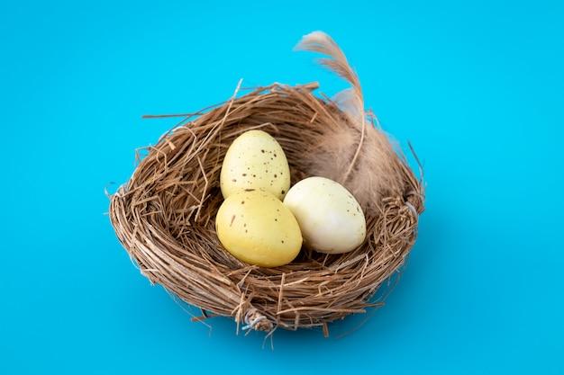 Piccole uova di quaglia gialle in un nido su una priorità bassa blu.