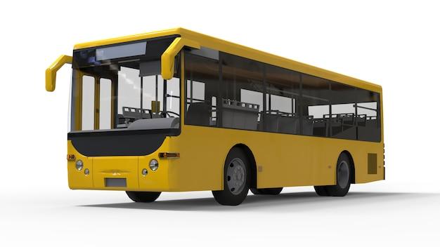 Piccolo autobus urbano giallo su una superficie bianca