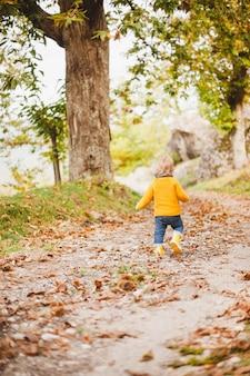 Piccolo bambino che indossa stivali da pioggia gialli, camminando lungo un sentiero nel bosco alberato