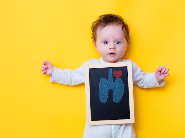 Piccolo bambino con tavola a raggi x e polmoni e cuore di disegno