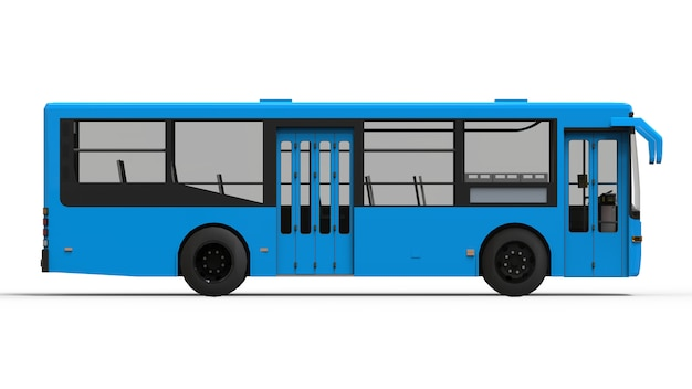 Piccolo bus blu urbano su bianco