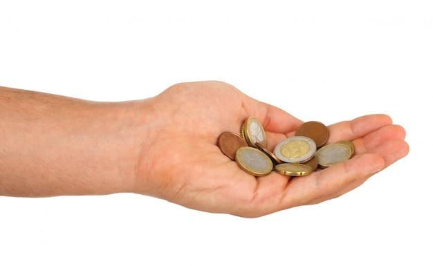 Piccolo cambio euro in mano maschile