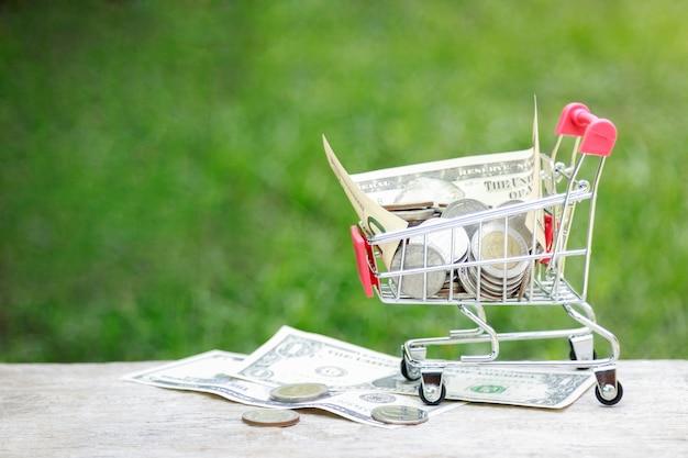 Piccolo carrello con denaro dollaro per il concetto di business