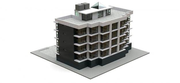 Piccolo condominio bianco e grigio con ascensore e garage