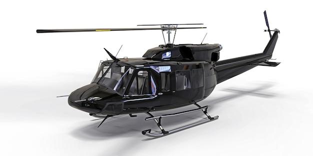 Piccolo elicottero da trasporto militare nero su superficie isolata bianca. il servizio di salvataggio in elicottero. taxi aereo elicottero per polizia, vigili del fuoco, ambulanza e servizio di salvataggio