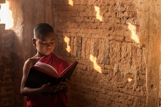 Piccolo libro di lettura del monaco del myanmar, sedentesi nel monastero, bagan, myanmar