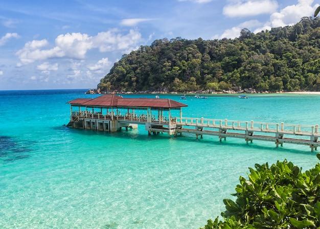 Piccolo molo vicino all'isola tropicale nel parco marino.