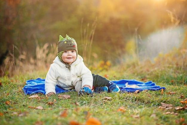 Piccolo ragazzo sorridente che si siede su un plaid blu e che gioca con i giocattoli su un prato inglese verde al tramonto