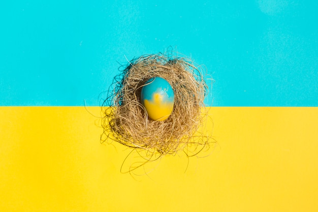 Piccolo uovo di pasqua nel nido sul tavolo