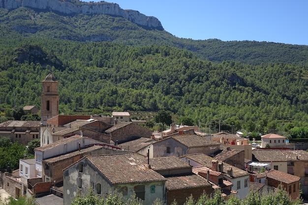 Piccolo villaggio nella foresta tra le montagne