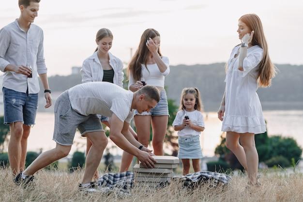 Picnic amici in giornata di sole, tramonto, compagnia, divertimento, coppie e mamma con bambino